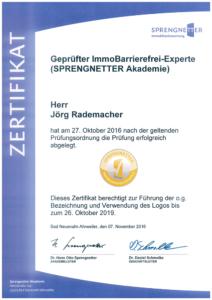 Zertifikat Geprüfter ImmoBarrierefrei-Experte / SPRENGNETTER Akademie
