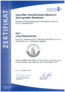 Zertifikat Geprüfter ImmoSchaden-Bewerter / SPRENGNETTER Akademie