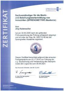 Zertifikat Sachverständiger für die Markt- und Beleihungswertermittlung von Immobilien / SPRENGNETTER Akademie